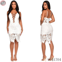 9041704 2019 Latest design women spaghetti strap lace hollow-out dress