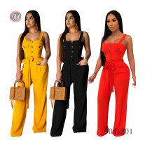 9041801 2019 Hot sale loose casual button women jumpsuit with pockets and sashes