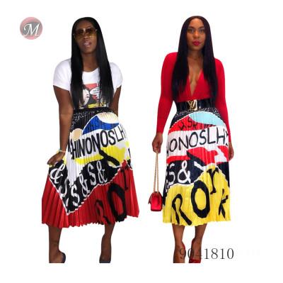 9041810 women fashion pleated digital print skirt