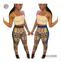 9041808 Women fashion cartoon card printed long pants
