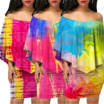 PN6064 women's colorful printed strapless top and skirt two pieces set PN6064