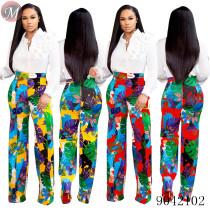 9042102 Women fashion high waist floral print casual long pants