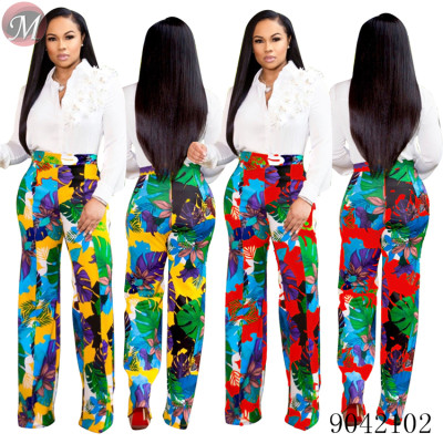 9042102 Women fashion high waist floral print casual long pants