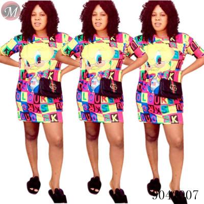 9042007 Women casual letter cartoon print short sleeve long t shirt