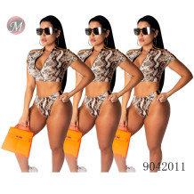 9042011 Wholesale sexy snake print short sleeve two-piece swimsuit