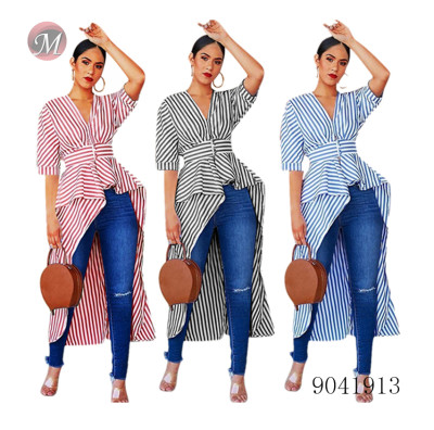 9041913 Women striped V neck shirt with irregular short front and long back