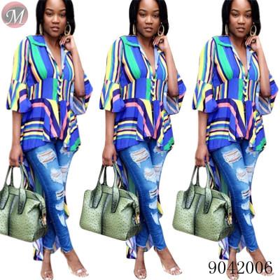 9042006 New design women V neck colorful stripe irregular long blouse