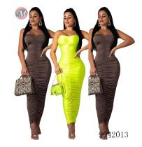 9042013 Hot sale women pure color wrap chest pleated bandage dress