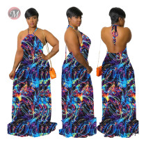 9042001 Beatiful fashion colorful chaotic stripe printed halter backless maxi dress