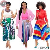 9042721 Wholesale women fashion digital print pleated skirt