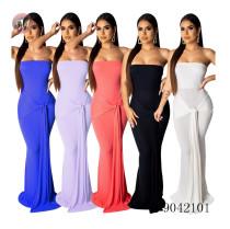 9042101 Women fashion hot sale solid color pit article wrap chest maxi dress