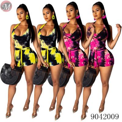 9042009 Sexy tie-dye sleeveless legging jumpsuit women summer 2019