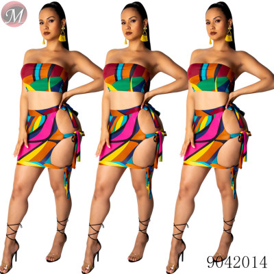 9042014 Women new fashion sexy hollow out matching color print band two piece skirt set