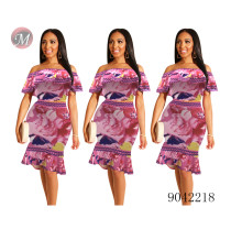 9042218 Women new fashion off shoulder ruffles top printed two piece skirt set