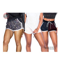 9042221 Letter hot drilling leisure sport shorts women clothing