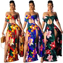 9040208 Lady fashion off shoulder floral print high slit strapless dress women 2019 summer