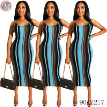 9042217 2019 New women striped sleeveless suspender midi dress