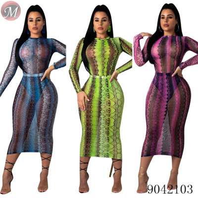 9042103 Women fashion sexy snake print long sleeve mesh dress