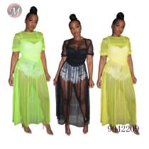 9042209 Women fashion mesh see through dress