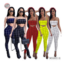 9050314 Summer 2019 women hot sale digital plaid print wrap chest and overalls two piece outfits