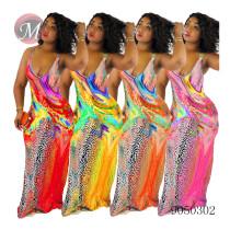 9050302 Women fashion deep U-neck sleeveless printed casual maxi dress summer clothing queenmoen