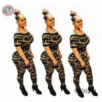 9050211 Wholesale women clothing chain printed short sleeve bodycon jumpsuit queenmoen