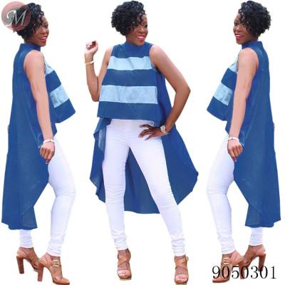 9050301 New fashion summer striped short front long back blouse women clothing queenmoen
