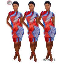 9050304 Wholesale summer painted print casual dress women clothing queenmoen