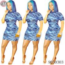 9050303 Women fashion summer casual lightning printed short sleeve dress queenmoen