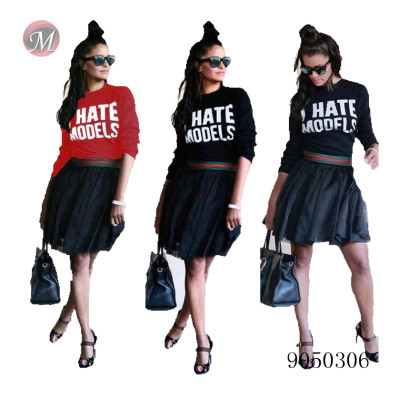 9050306 Wholesale red/green rib letter printed long sleeve t-shirt women summer clothes queenmoen