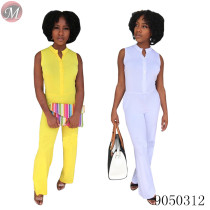 9050312 Women summer fashion solid sleeveless jumpsuit with pocket for daily queenmoen
