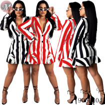 9050404 Hot sale fashion long sleeve striped dress with V-neck for ladies queenmoen
