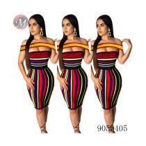 9050405 Women's 2019 fashion sexy off shoulder striped stitching bodycon dress queenmoen