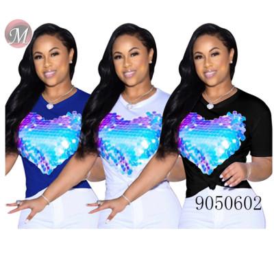 9050602 queenmoen Women leisure heart shape sequin T-shirt