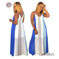 9050621 queenmoen Women fashion summer casual striped suspender maxi dress