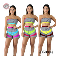 9050804 queenmoen Summer women reflective wrap chest matching sport suit two piece