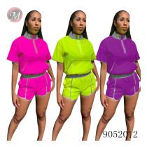 9052012 queenmoen Summer women fashion reflective stand collar casual two piece set