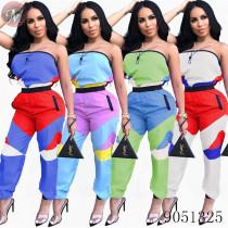 9051325 queenmoen wholesale women clothing contrast color wrap chest casual jumpsuit