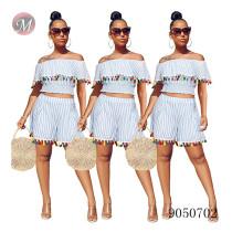 9050702 queenmoen Wholesale women fashion ruffled collar stripe tassel two piece shorts set