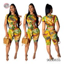 9050835 queenmoen urban casual women clothing printed crop t-shirt two piece sets