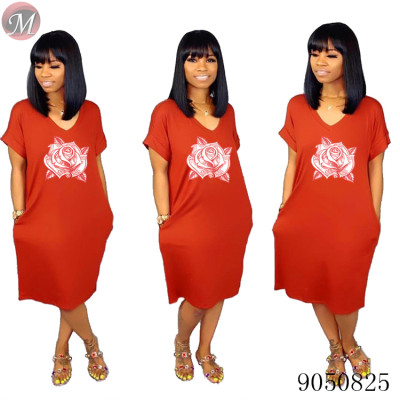 9050825 queenmoen Women summer casual flower print loose dress