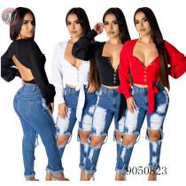 9050823 queenmoen fashion women casual long sleeve open back crop chiffon blouse