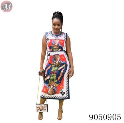 9050905 queenmoen women fashion queen playing card print sleeveless casual dress