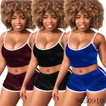 9050910 queenmoen Wholesale summer women velvet shorts two piece suit for nightclub