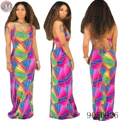 9050926 queenmoen wholesale women summer backless casual print dress