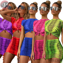 9051308 queenmoen summer fashion women print sexy short sleeve two piece dress