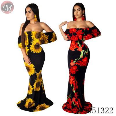 9051322 queenmoen flower print off shoulder ruffle collar maxi women casual dress