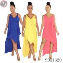 9051320 queenmoen wholesale women summer fashion sleeveless solid color irregular chiffon dress