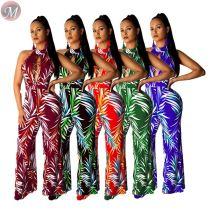 9053129 queenmoen Hot sale women deep V halter floral print wide leg jumpsuit