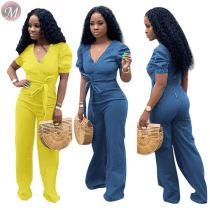 9053102 queenmoen Women fashion short sleeve V-neck lovely colored jean jumpsuit